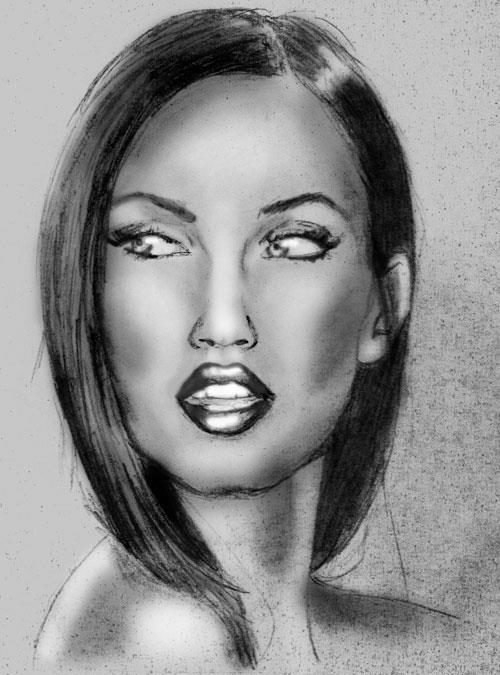 Pencil drawing of Megan Fox
